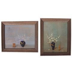 Pair of Compatible Floral Paintings on Board
