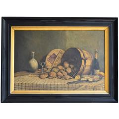 Large Painting of a Still Life with Oysters and Champagne