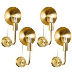 Rare Set of Six Brass Sconces by Hans Agne Jakobsson
