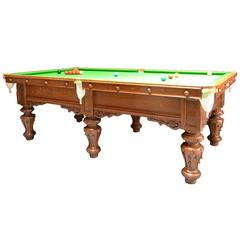Exceptional 8ft  Solid Oak Antique Billiard -Snooker, Pool Table circa 1860