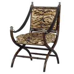Faux Bamboo and Zebra Accent Chair