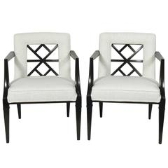 Pair of Elegant Fret Back Chairs Attributed to Grosfeld House