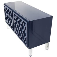 Mid-Century Style 2-Door Tangier Credenza in Glossy Navy Lacquer w/ Lucite Legs