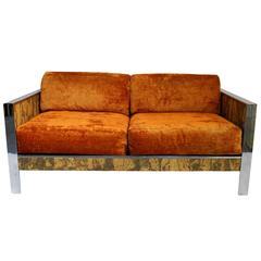 Milo Baughman Style 1970s Loveseat Sofa