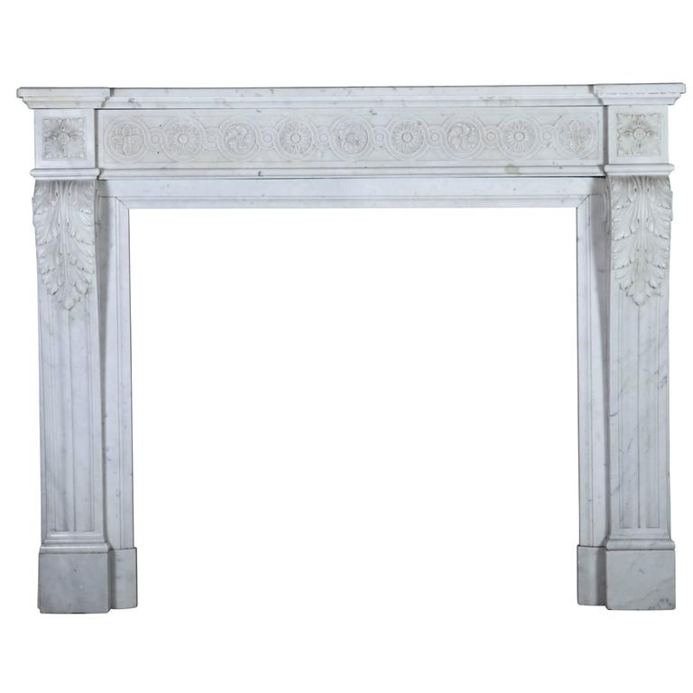 Authentic 19th Century Carrara Marble Fireplace Mantel in the Style of Louis XVI