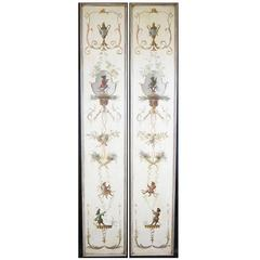 Fine Pair of Singerie Sub-Genre Chinoiserie Style Painted Trompe l'oeil Panels