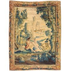 Antique 18th Century French Pastoral Tapestry, with Man Playing Flute in Forest