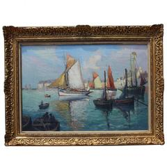 French Impressionist Painting, Subject 'Boats on the Sea'