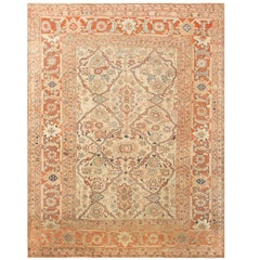 Antique Ivory Background Persian Sultanabad Rug