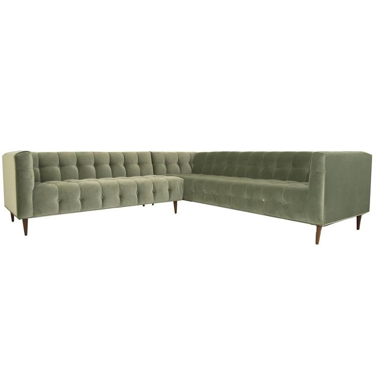Mid Century Style Delano Sectional Tufted In Sage Velvet W Walnut Cone Legs For