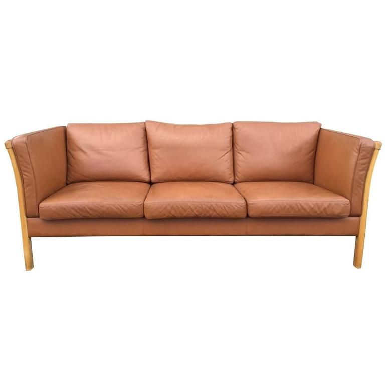 Vintage Danish Leather Sofa By Stouby For