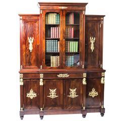 19th Century Empire Mahogany Bookcase Cabinet