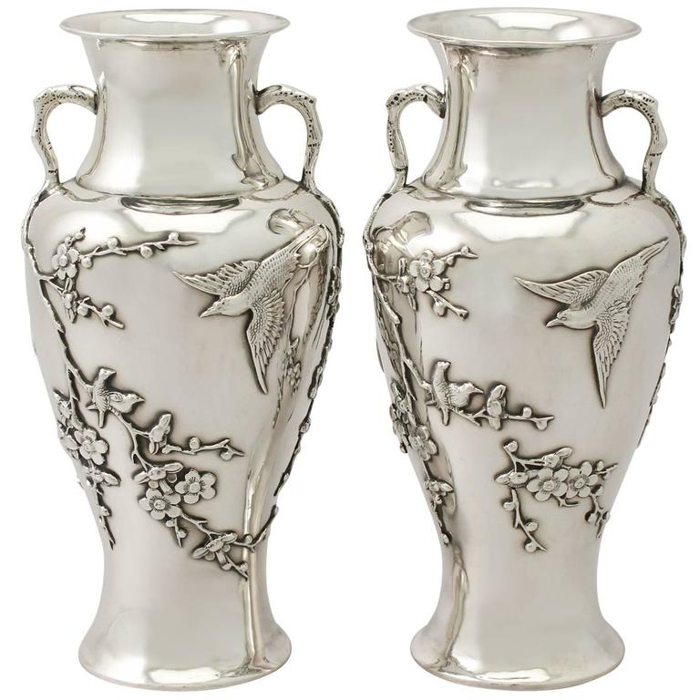 Silver Vases Fascinating Pair Of Chinese Export Silver Vases Antique Circa 1890 For Sale Inspiration Design