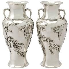 Pair of Chinese Export Silver Vases, Antique, circa 1890
