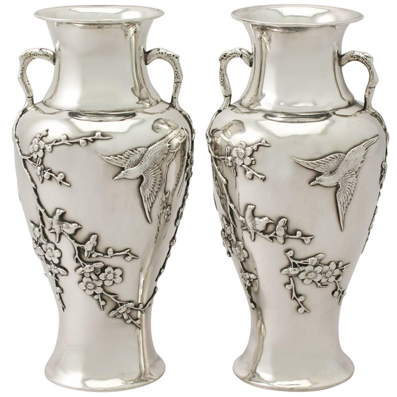 Silver Vases Pair Of Chinese Export Silver Vases Antique Circa 1890 For Sale