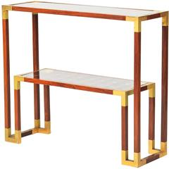 Rosewood and Gilt Brass Console, circa 1970