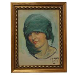 Oil Painting by David Livingston Adam, circa 1923 Flapper Girl, Chicago Artist