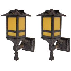 Original Iron Arts & Crafts Exterior Sconce Pair with Hammered Amber Glass