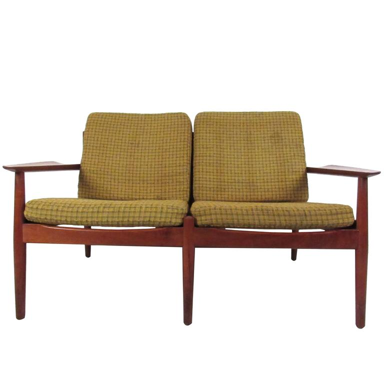Unique Mid-Century Danish Teak Settee by Arne Vodder