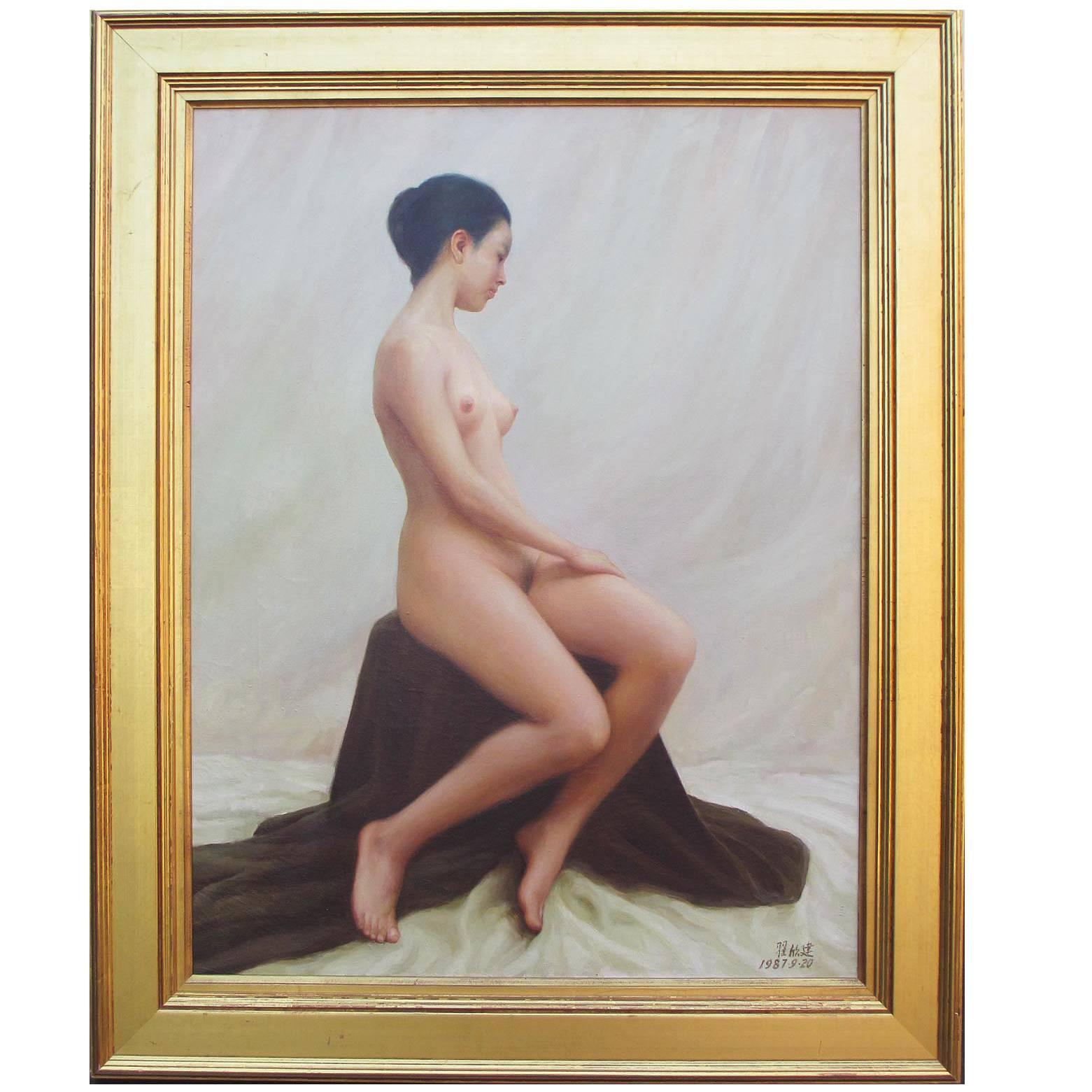 """Oil on Canvas Titled """"The Model"""" by Chinese Artist Zhai Xinjian"""