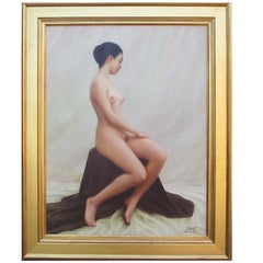 "Oil on Canvas Titled ""The Model"" by Chinese Artist Zhai Xinjian"