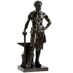Alfred Boucher Antique Bronze Sculpture L'forgeron by Siot