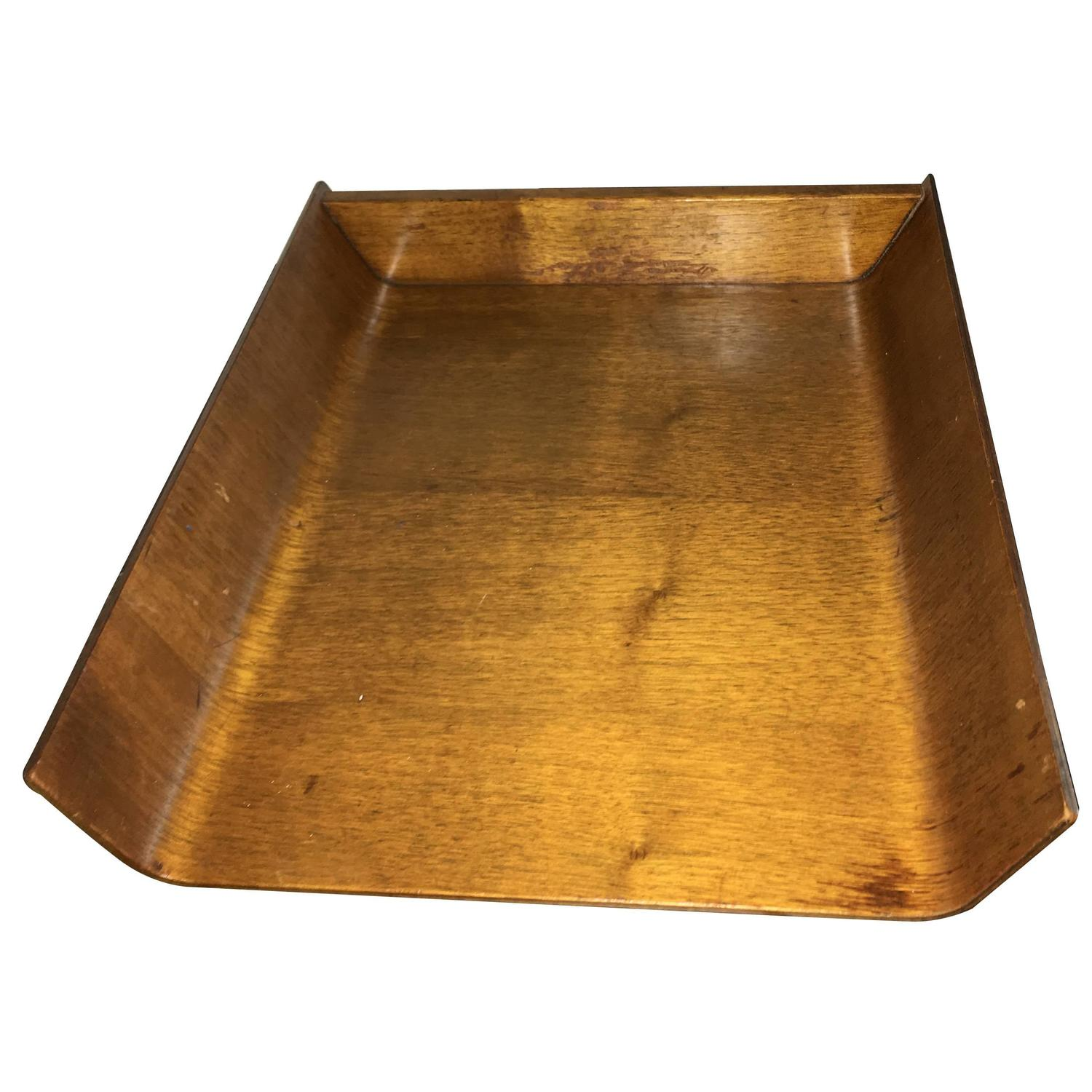 Knoll Associates Mid Century Wood Desk Tray For Sale At