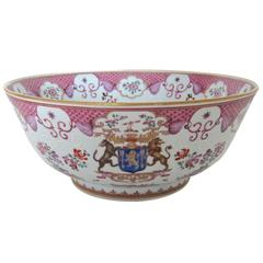 Chinese Export Armorial Style Porcelain Punch Bowl by Samson, Late 19th Century