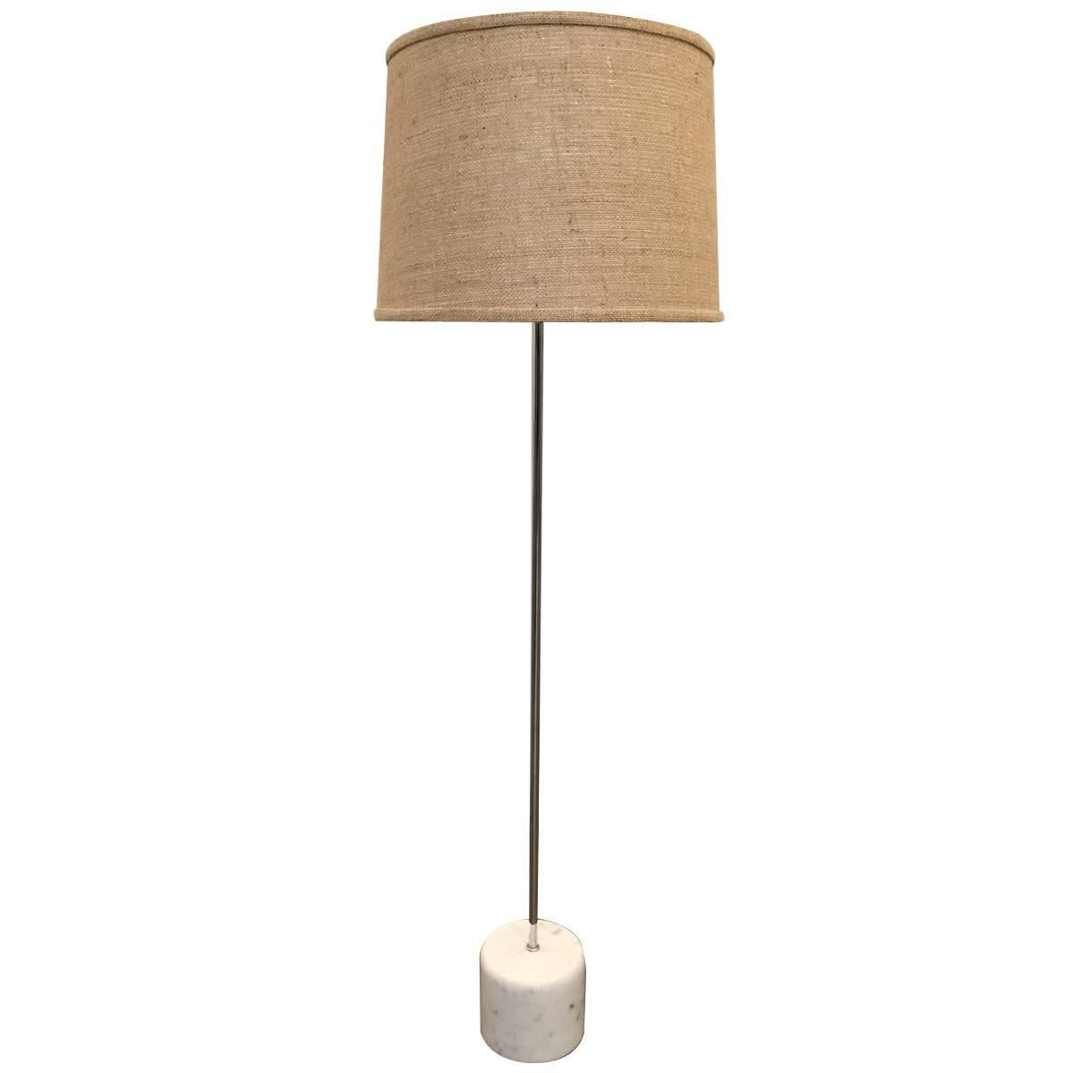 chrome and marble base floor lamp by nessen for sale at 1stdibs. Black Bedroom Furniture Sets. Home Design Ideas