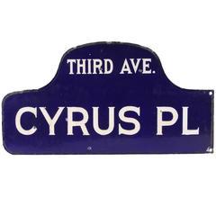 1920s-1930s New York Humpback Enamel Street Sign