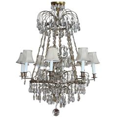 Antique Baltic Style Bronze and Crystal Chandelier, Bagues Quality