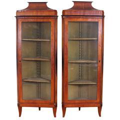 Pair of 19th Century Beidermeier Corner Cabinets