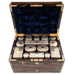 19th Century Calamander Silver and Gold Jewellery Dressing Case by Thornhill