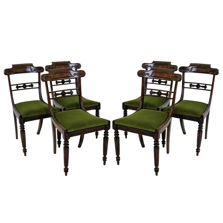 Set Of Six Fine Regency Rosewood Dining Chairs At 1stdibs