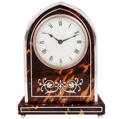 Edwardian Tortoiseshell and Silver Mantle Clock