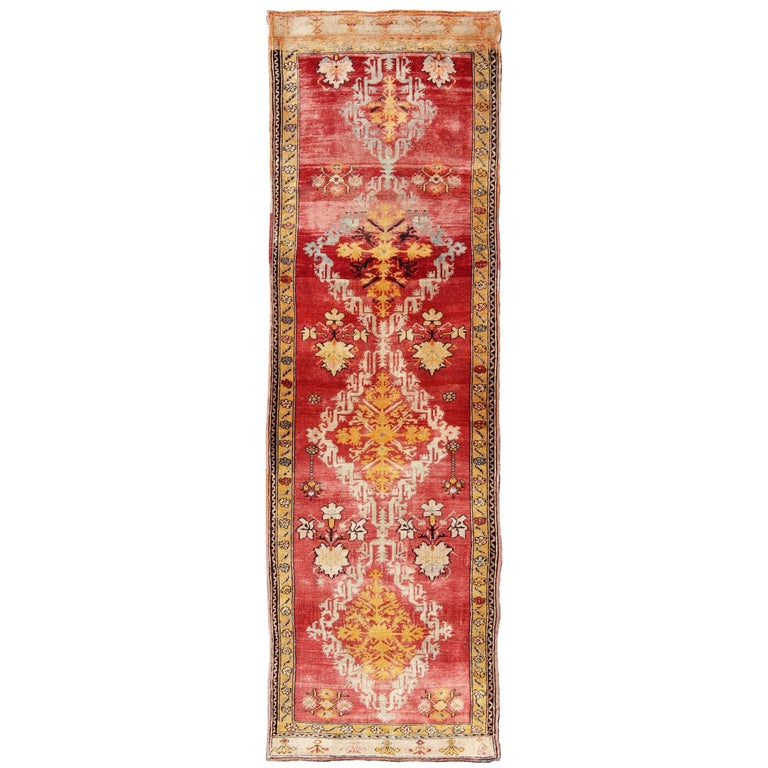 Antique Turkish Oushak Runner For Sale