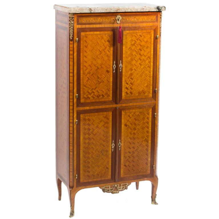 Antique french kingwood parquetry cabinet circa 1880 at for 1880 kitchen cabinets