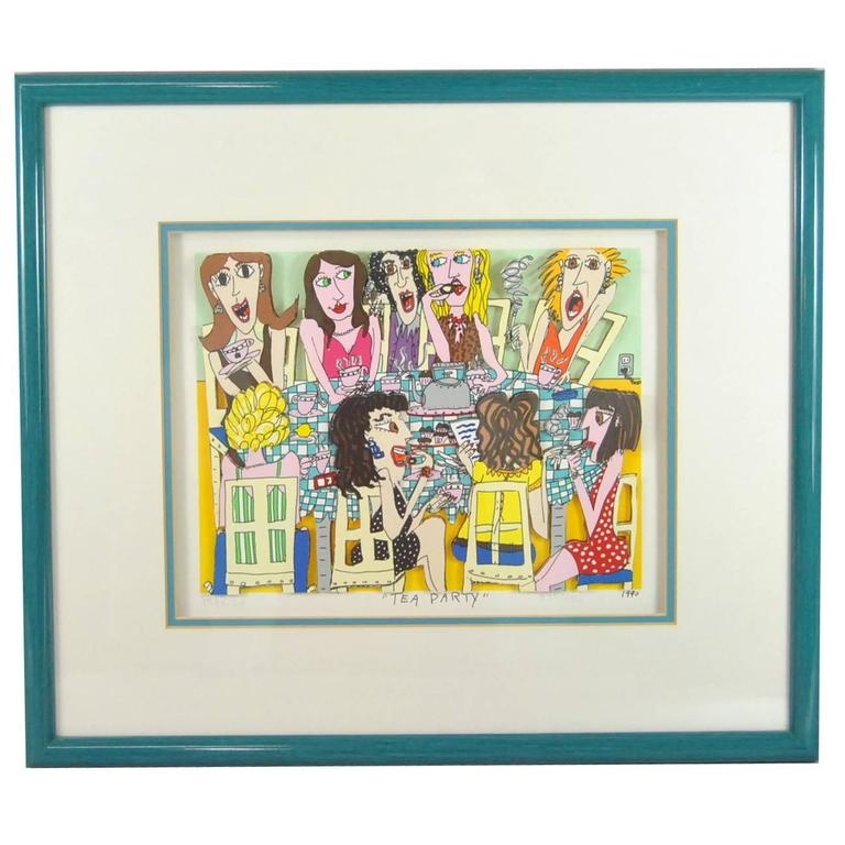 James Rizzi Tea Party 3-D 1990 Hand-Cut Signed and Numbered Lithograph For Sale