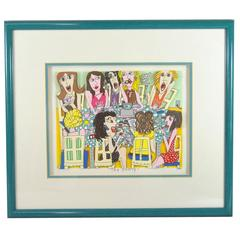 James Rizzi Tea Party 3-D 1990 Hand-Cut Signed and Numbered Lithograph