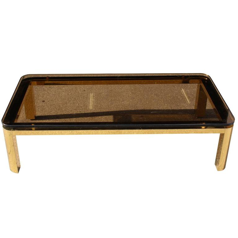 Pace Collection Floating Smoked Glass Top Coffee Table in Brass For Sale