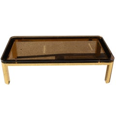 Pace Collection Floating Smoked Glass Top Coffee Table in Brass