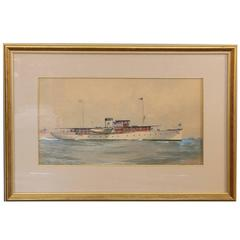 Gouache of a Private New York Yacht Club Yacht by A. T. Merrick