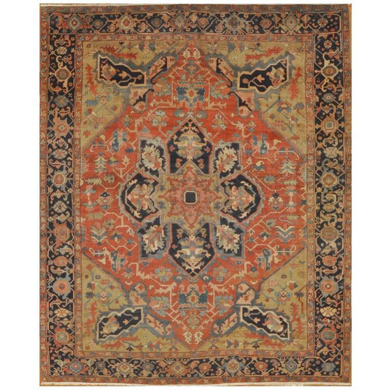 Late 19th Century Antique Persian Serapi Rug