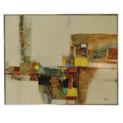 Modern Abstract Oil on Board by Florida Artist Christine Schub