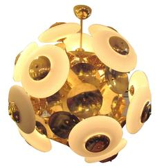 Sculptural  Italian Modern Brass and Glass Sputnik Chandelier With 45 Arms