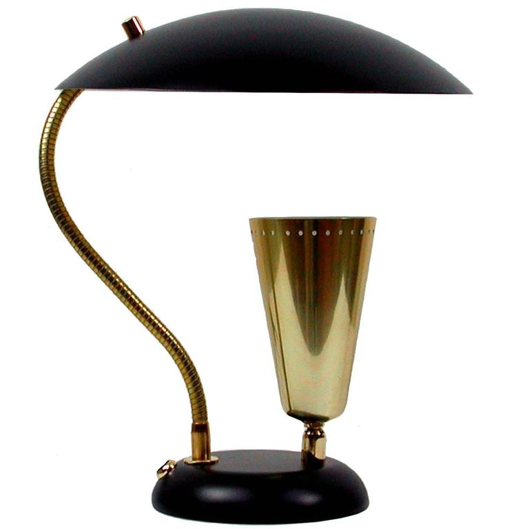 Italian Mid-Century Brass and Metal Double Shade Table Lamp, 1950s