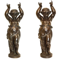 Pair of Very Large French, 19th Century Bronze Cherub Statues Signed A. Moreau