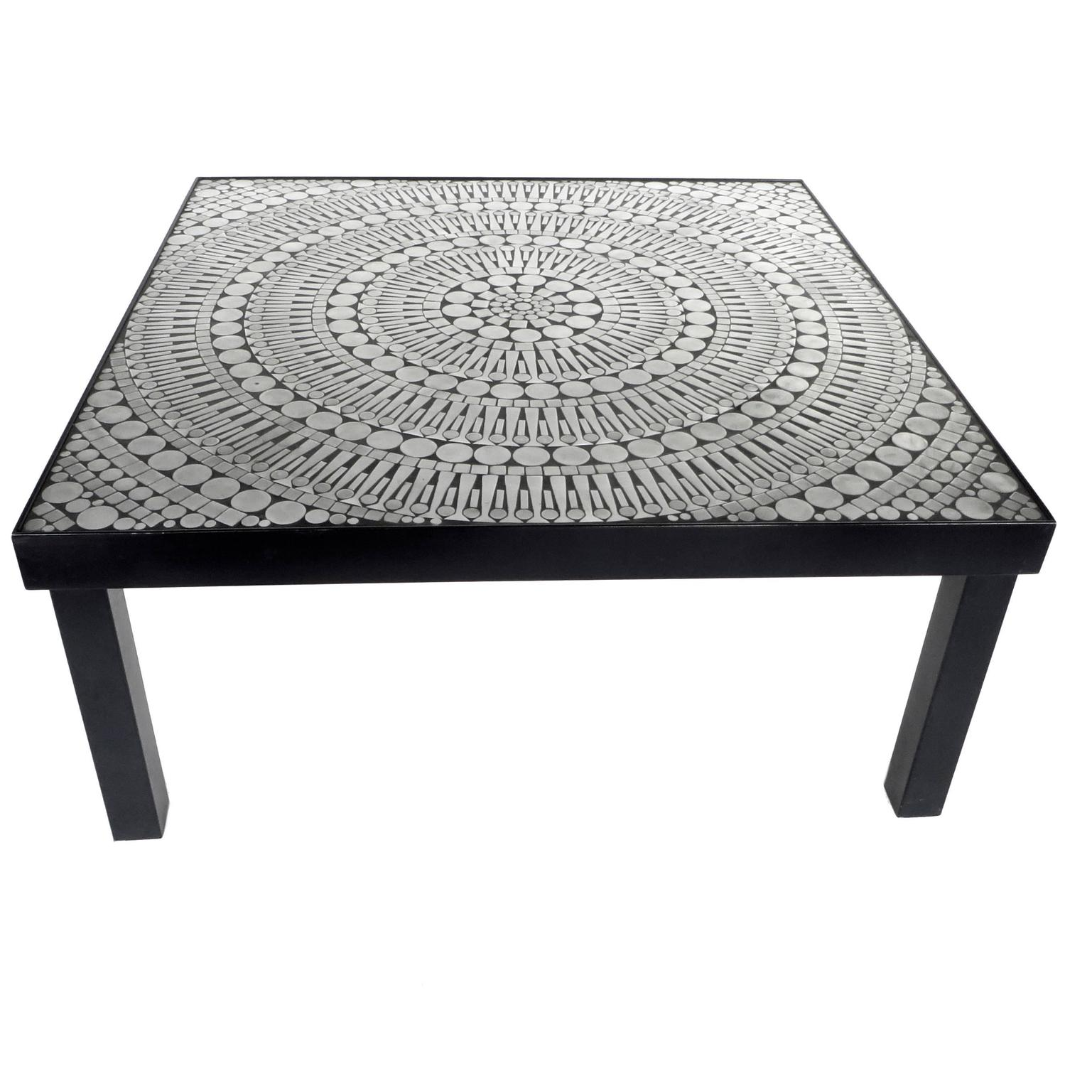 Mosaic Aluminum and Steel Coffee Table by Belgian Designer Raf