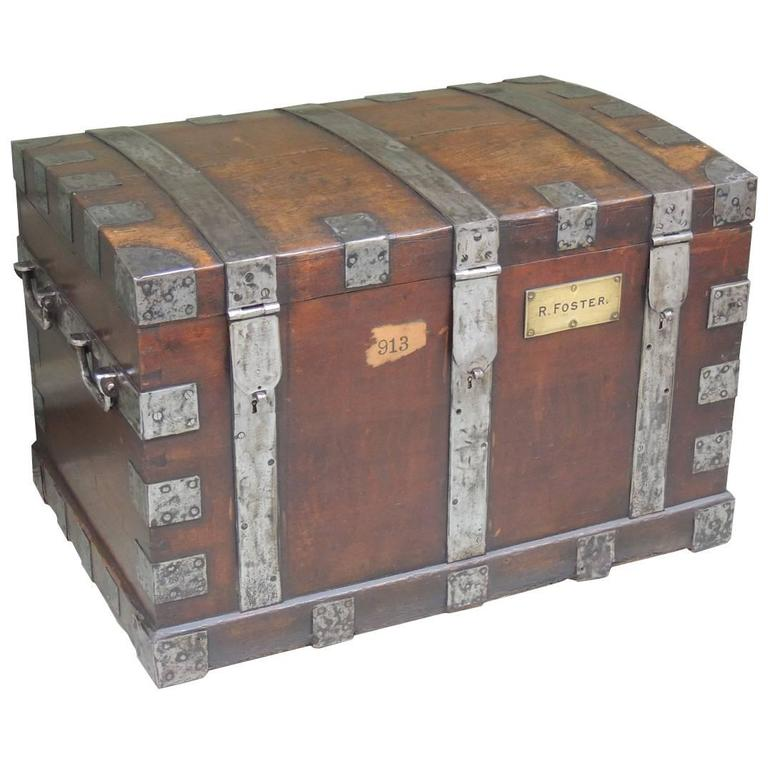 Mid 19th C English Oak Silver Chest with Double Lock 1