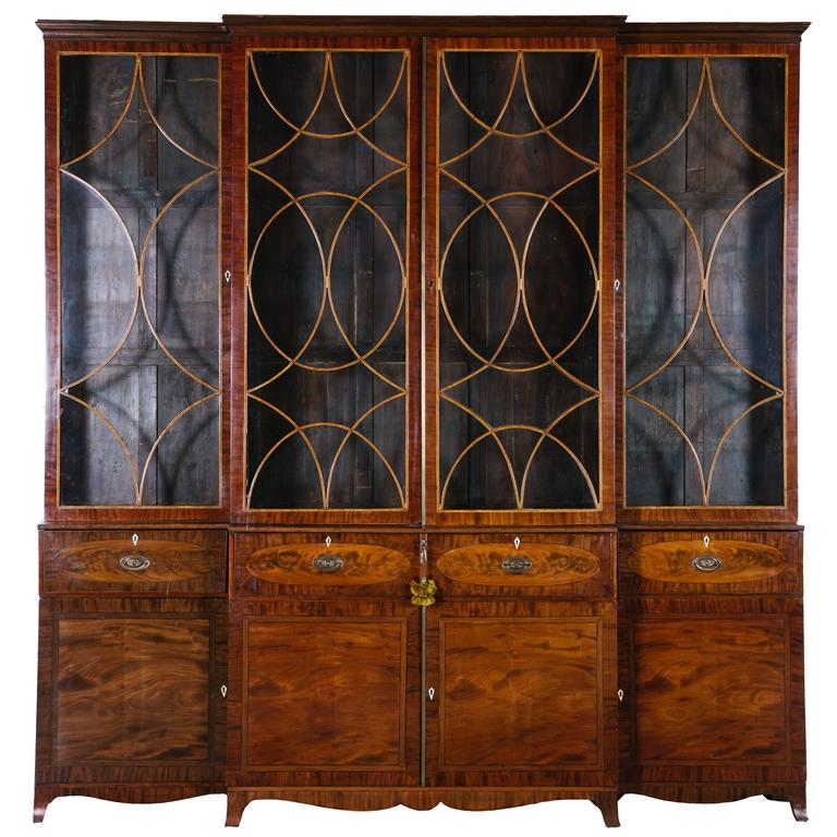 George III Mahogany Breakfront Secretary For Sale